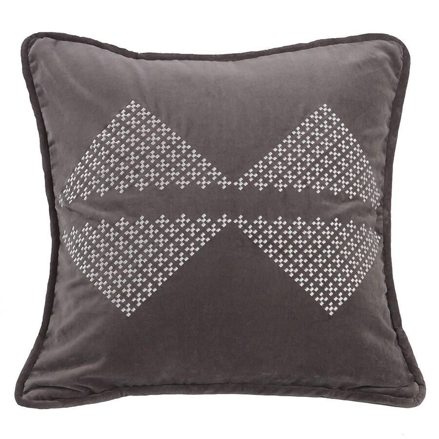 HiEnd Accents Grey 18-inch x 18-inch Embroidered Diamond Throw Pillow (Throw Pillows)