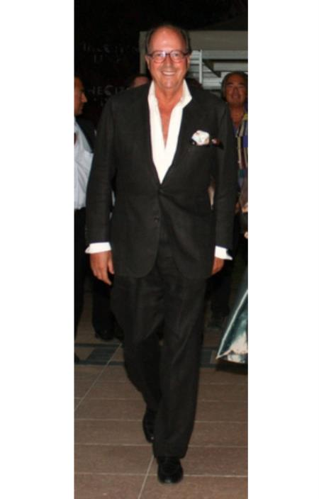 Black Linen & Cotton Fabric 2 or 3 buttons style suit (Jacket &Fabric)