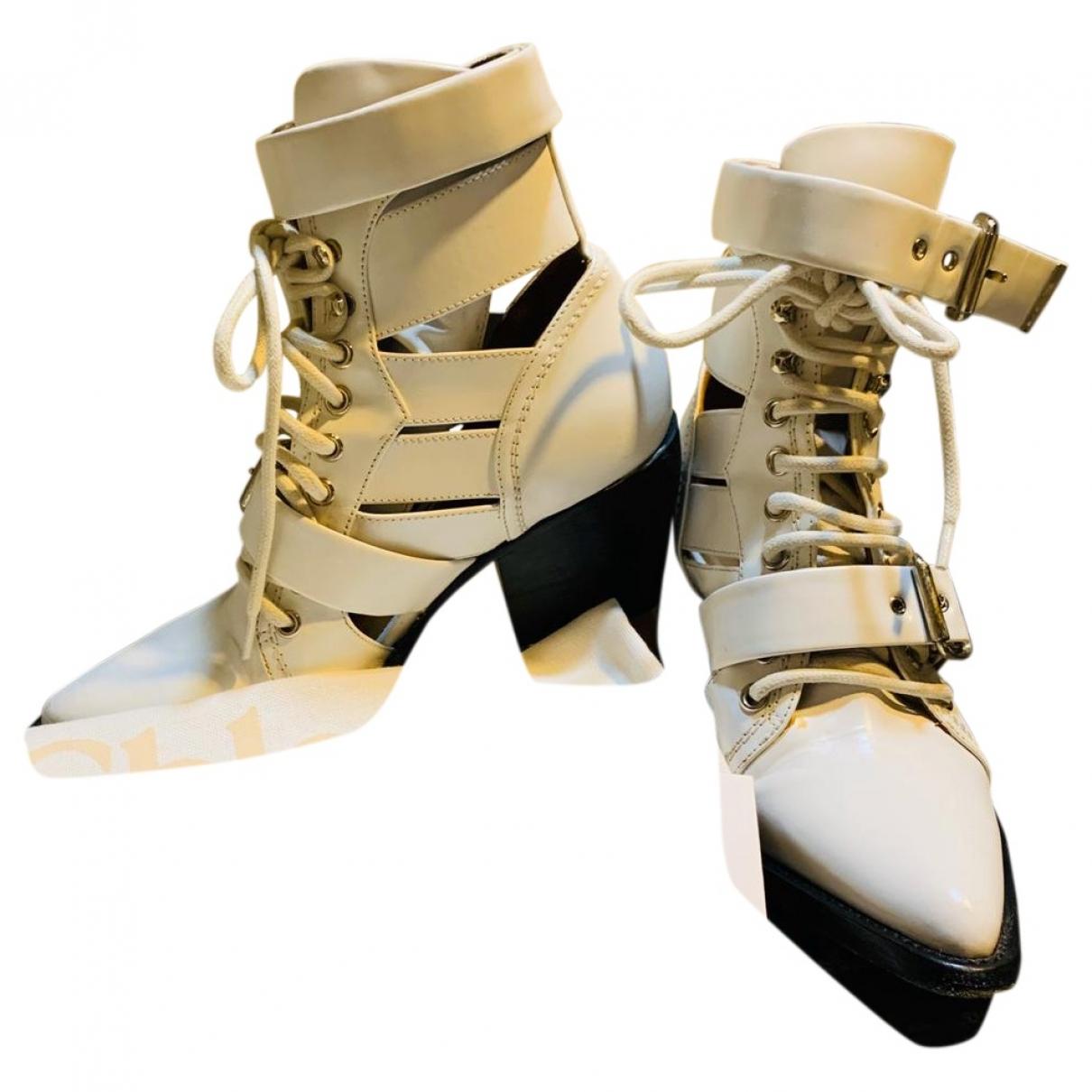 Chloe - Boots Rylee pour femme en cuir - blanc