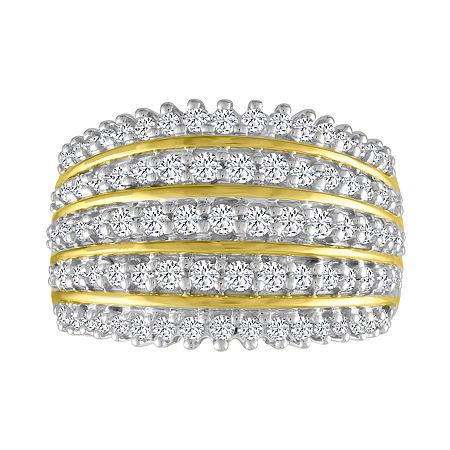 Womens 1 CT. T.W. Genuine White Diamond 10K Gold Cocktail Ring, 7 , No Color Family