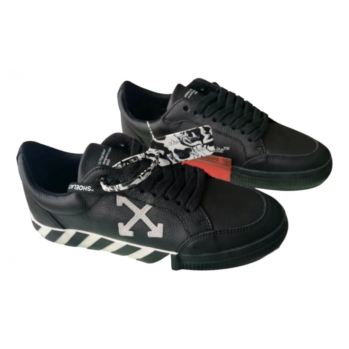 Off-white Vulcalized Black Leather Trainers for Men 43 EU