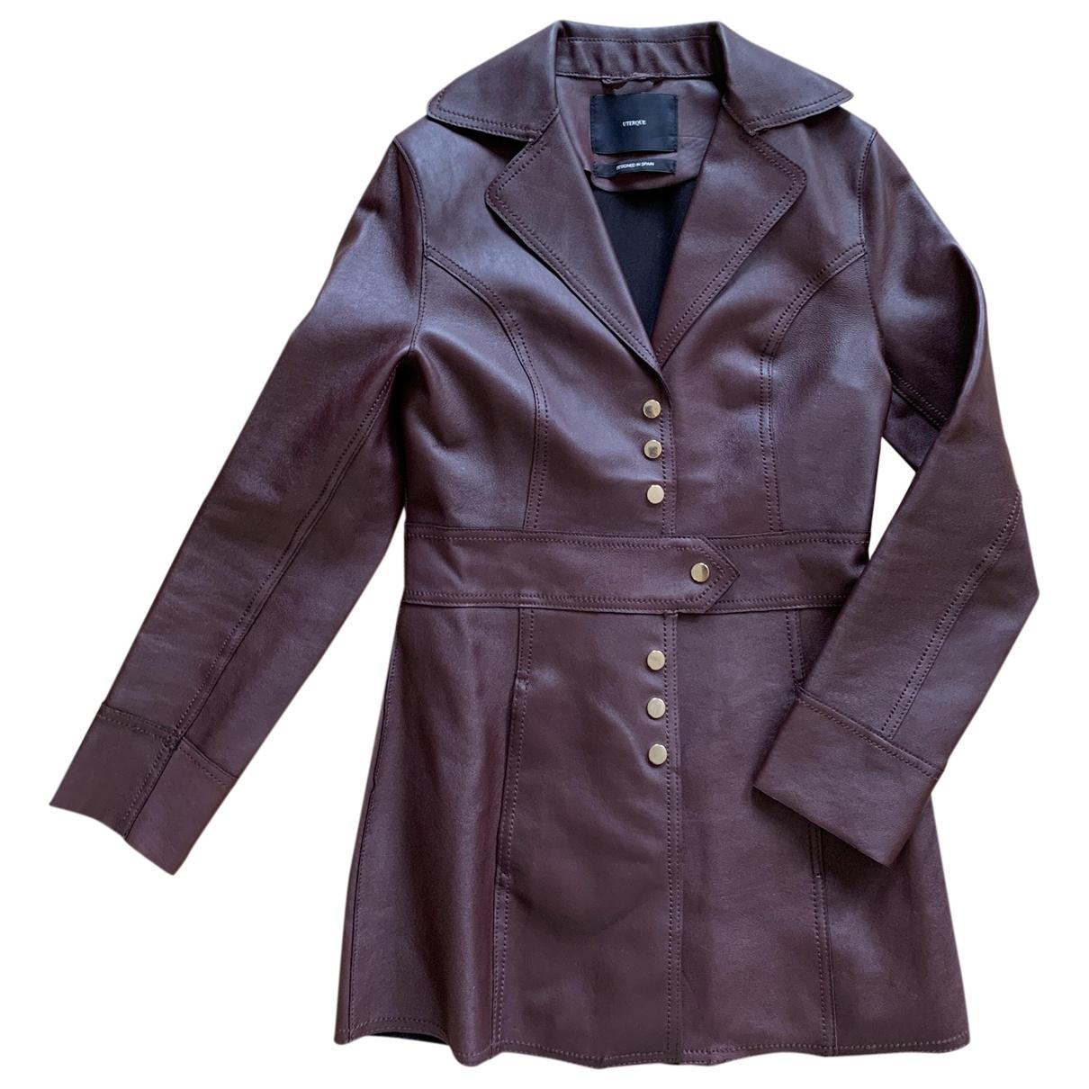 Uterque - Veste   pour femme en cuir - bordeaux