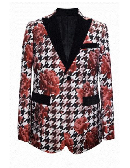 Cheap Mens Printed Flower Jacket Prom modern Tux Red ~ White