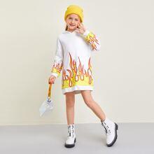 Vestido sudadera con capucha con estampado de fuego de hombros caidos