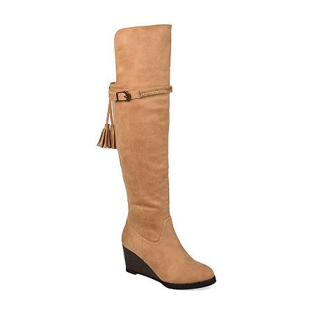 Journee Collection Womens Jezebel Extra Wide Calf Wedge Heel Over the Knee Boots, 8 1/2 Medium, Brown