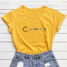 T-Shirt mit Kariktur Planet Muster und kurzen Ärmeln