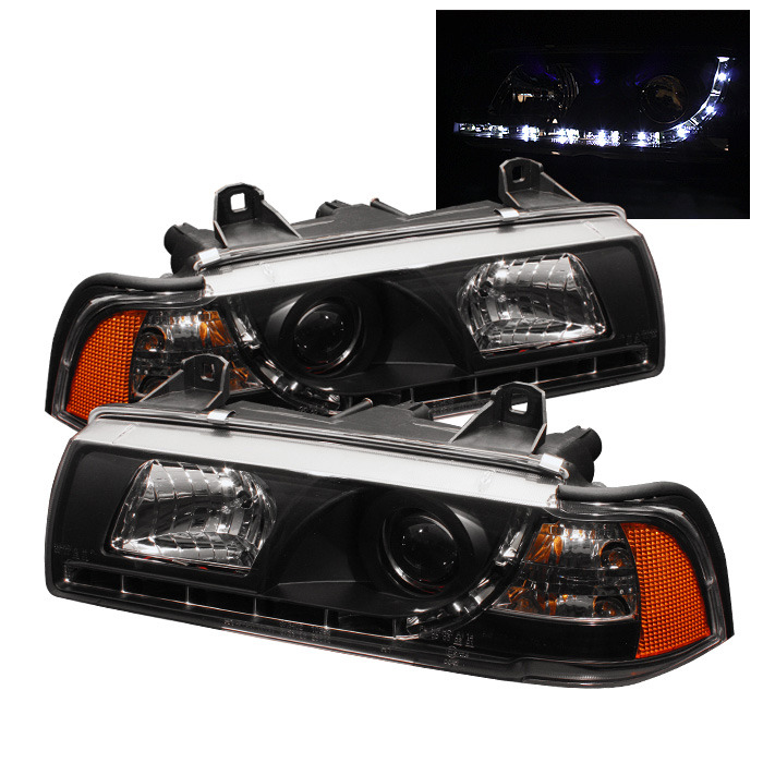 Spyder Auto PRO-YD-BMWE36-4D-DRL-BK 1PC Black DRL Projector Headlights with High H1 and Low H1 Lights Included BMW E36 323is 4Dr 98-99