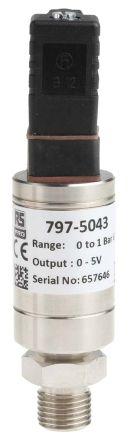 RS PRO Pressure Sensor for Air, Gas, Hydraulic Fluid, Liquid, Water , 1bar Max Pressure Reading Voltage