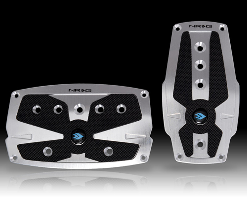 NRG PDL-250SL Silver Automatic Brushed Aluminum Sport Pedal with Black Rubber Inserts Universal