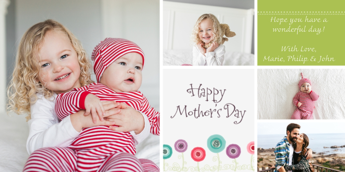 Mother's Day Cards Flat Glossy Photo Paper Cards with Envelopes, 4x8, Card & Stationery -Blossoming Montage