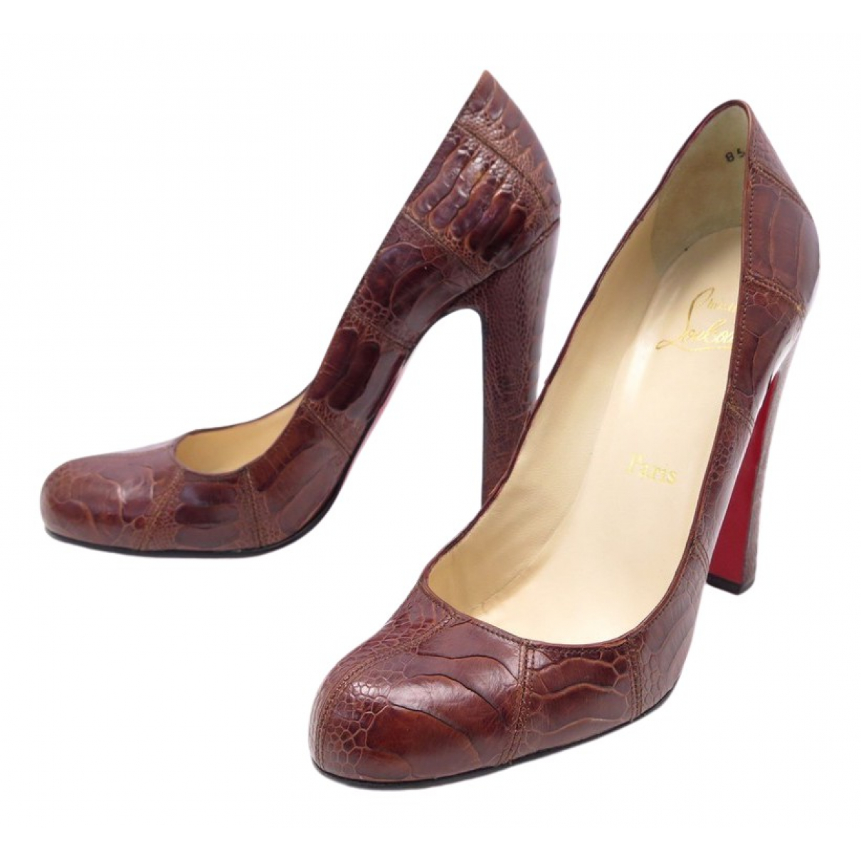 Christian Louboutin Simple pump Brown Exotic leathers Heels for Women 40 EU