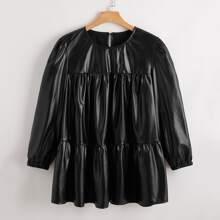 Einfarbige PU Leder Bluse mit Schluesselloch hinten