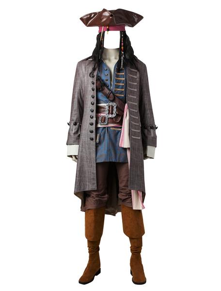 Milanoo Pirates Of The Caribbean Dead Men Tell No Tales Captain Jack Halloween Cosplay Costume Halloween