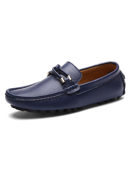 Milanoo Mens Black Leather Loafers Shoes Cowhide Round Toe Slip On Driving Shoes
