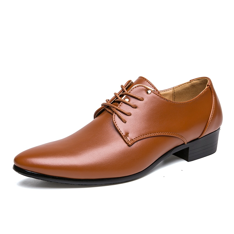 Ericdress Plain Lace-Up Pointed Toe Men's Dress Shoes