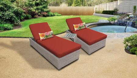 Florence Collection FLORENCE-2x-ST-TERRACOTTA Patio Set with 2 Chaises   1 Side Table - Grey and Terracotta