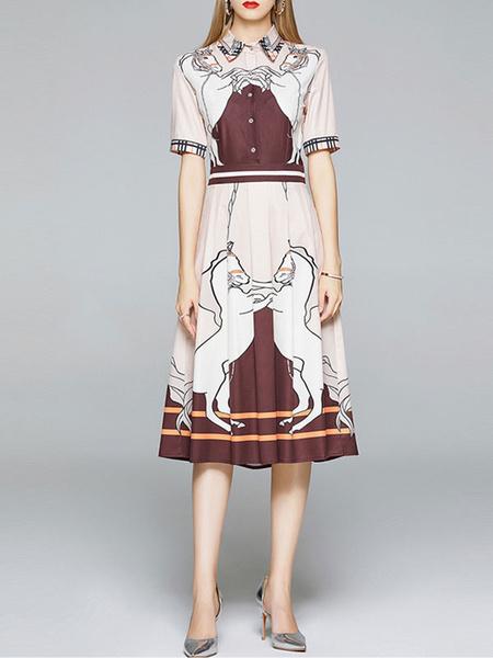 Milanoo Vestidos largos Cuello vuelto Albaricoque Estampado animal Bloques de color Poliester Vestido largo