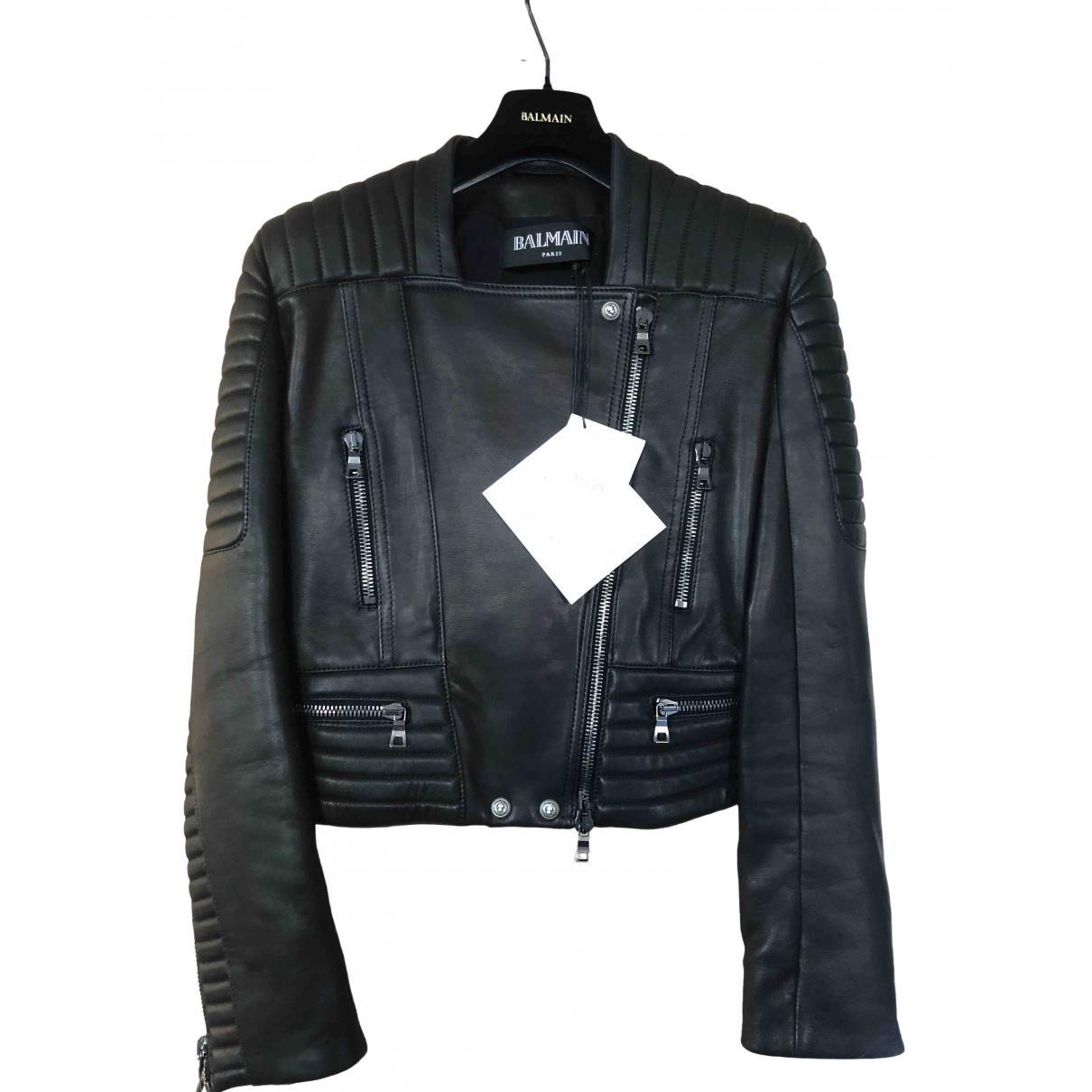 Balmain \N Black Leather jacket for Women 40 FR