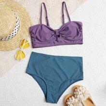 Bikini Badeanzug mit Knoten Detail und hoher Taille