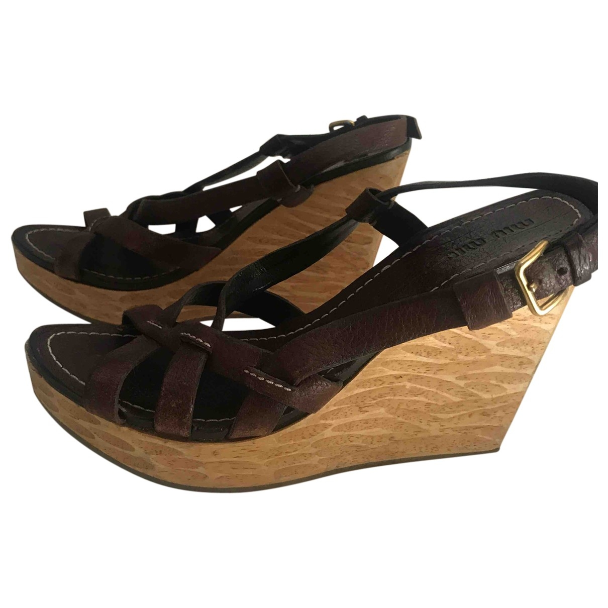 Miu Miu \N Brown Leather Sandals for Women 39 IT