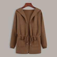 Cardigan con capucha con bolsillo doble con cordon