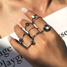 8 piezas anillo con piedra preciosa