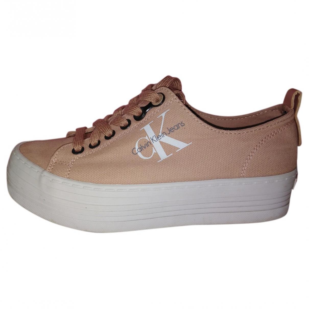 Calvin Klein \N Sneakers in  Rosa Leinen