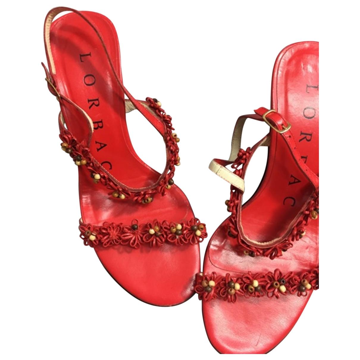 - Escarpins   pour femme en cuir - rouge