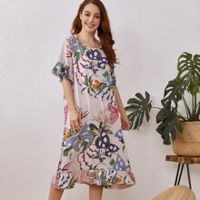 Butterfly And Plants Print Nightdress