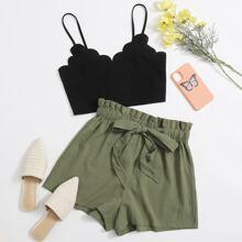 Cami Top mit Bogenkante & Shorts mit Kordelzug und Papiertasche um die Taille Set