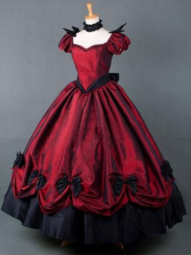 Milanoo Red Short Sleeves Pleated Victorian Dress Costume Halloween