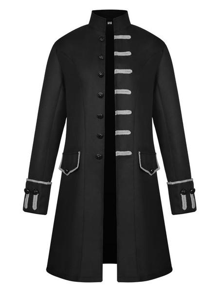 Milanoo Disfraz Halloween Chaqueta medieval vintage para hombre, cuello alto, chaqueta, disfraz de Halloween, uniforme Halloween