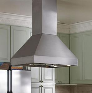EPITH18-448 SS Island Range Hood with 1100 CFM Inline Blower and 2-Level Halogen Lighting: 48