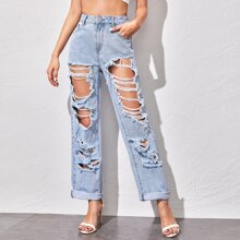 Roll Up Hem Distressed Baggy Jeans