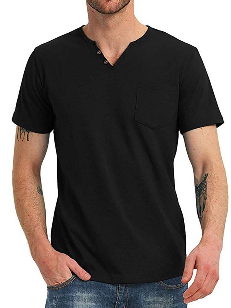 Ericdress Pocket V-Neck Plain Men's Straight T-shirt
