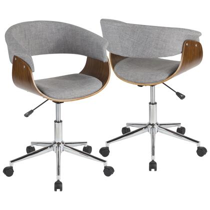 Vintage Mod Collection OC-VMOWL+LGY Office Chair with Woven Fabric Upholstery  Flared Armrests    Mid-Century Modern Style  5-Star Chrome Caster Base