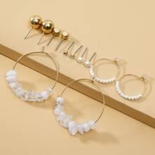 6 pares pendientes con perla artificial