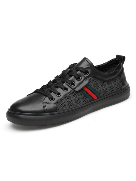 Milanoo Sneakers For Men Fashion Cowhide Round Toe Red Stripe Color Clock Men\'s Shoes