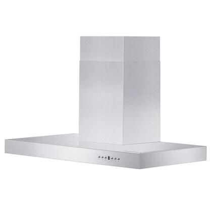 ZLKE-36 36 Wall Mounted Range Hood with 400 CFM Motor  4 Speed Levels  2 Directional Lights and Control Panel with LCD in Brushed Stainless