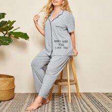 Plus Contrast Binding Patch Pocket Slogan Graphic Top & Pants PJ Set