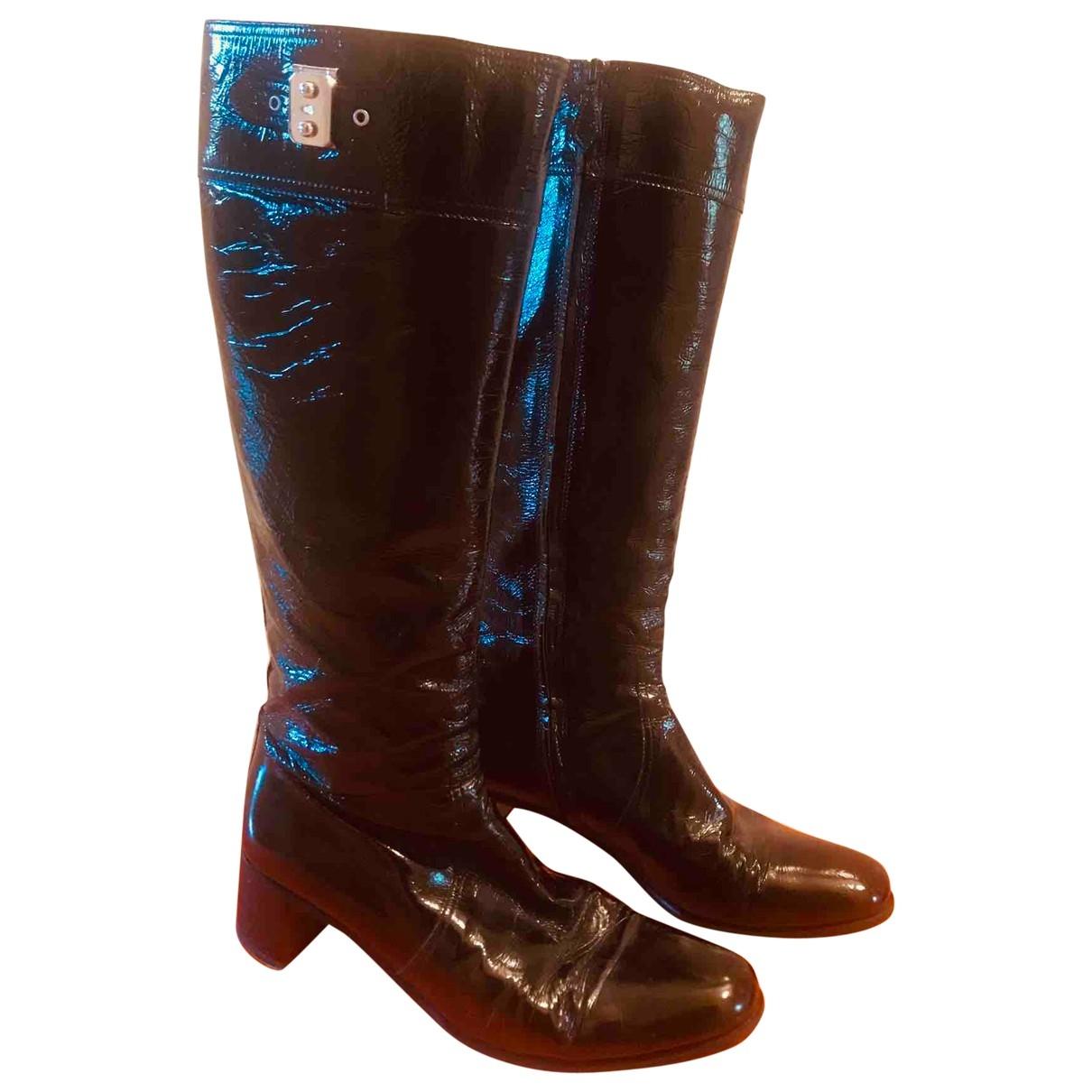 Hermes \N Stiefel in  Schwarz Lackleder
