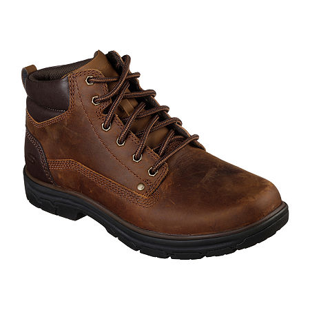 Skechers Mens Segment Garnet Lace Up Boots, 8 1/2 Medium, Brown