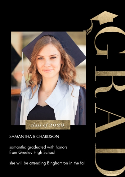 Graduation Announcements 5x7 Cards, Premium Cardstock 120lb with Scalloped Corners, Card & Stationery -2020 Vertical Grad by Tumbalina