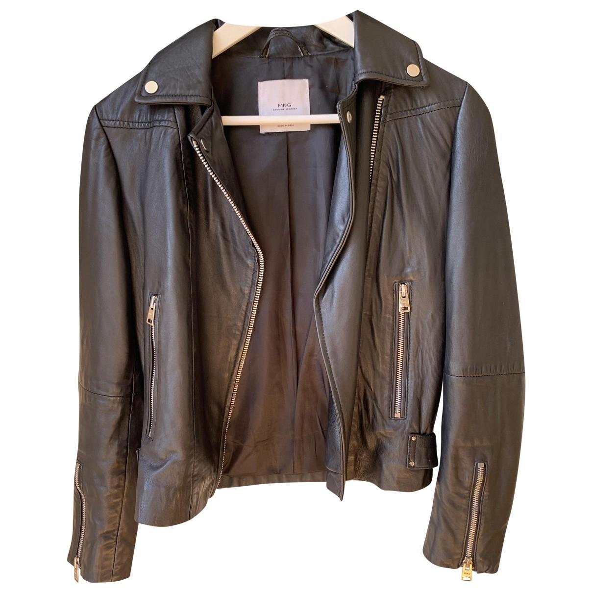 Mango \N Black Leather Leather jacket for Women XS International