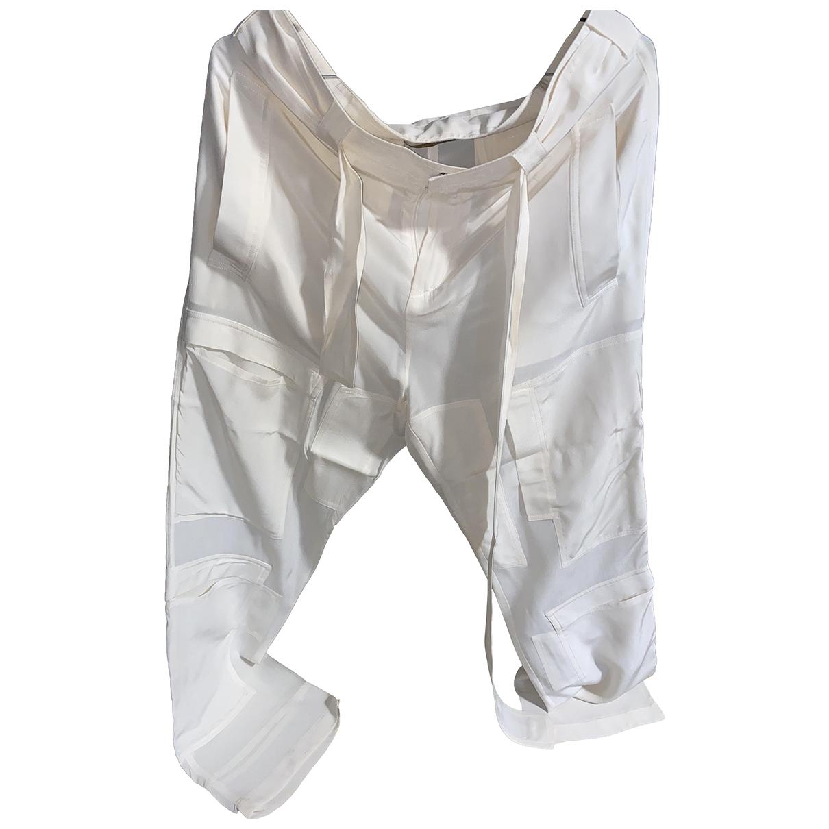 Roberto Cavalli N White Silk Trousers for Women 40 FR