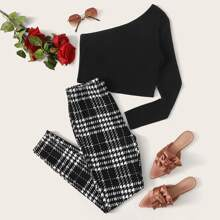 One Shoulder Crop Tee & Plaid Pants Set