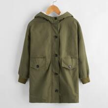 Abrigo con capucha con solapa con boton