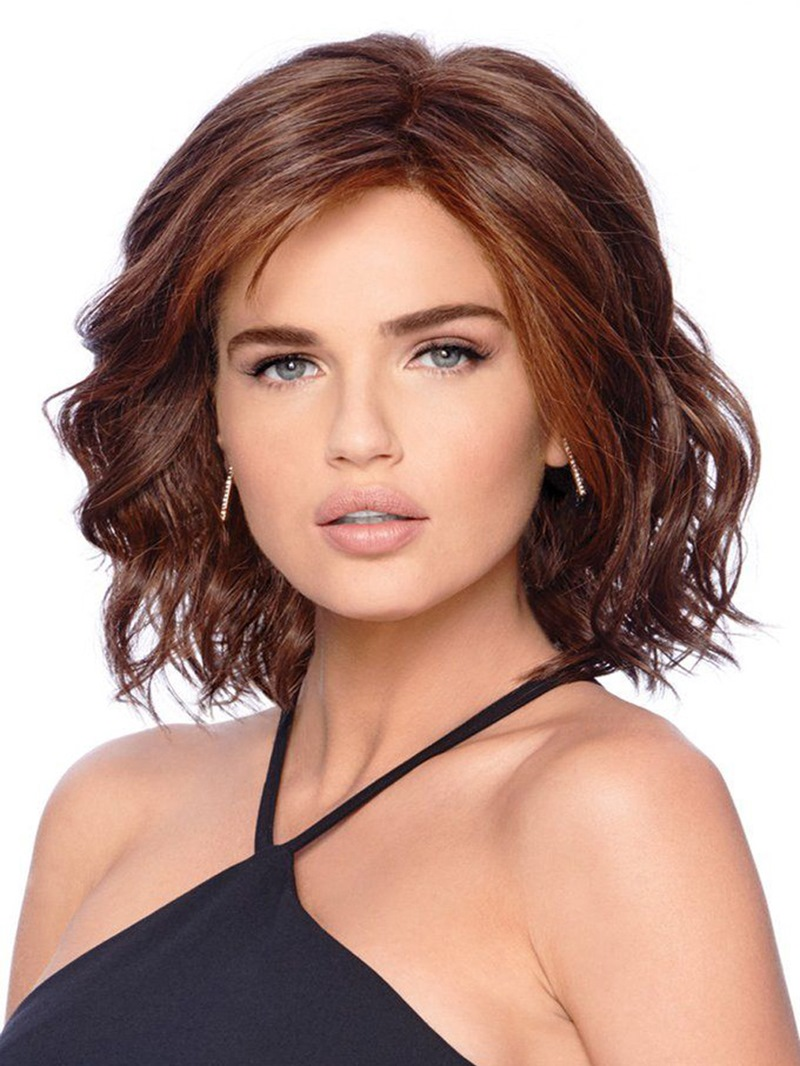 Ericdress Middle Length Loose Deep Wave Side Swept Synthetic Hair Capless Wigs 14Inches