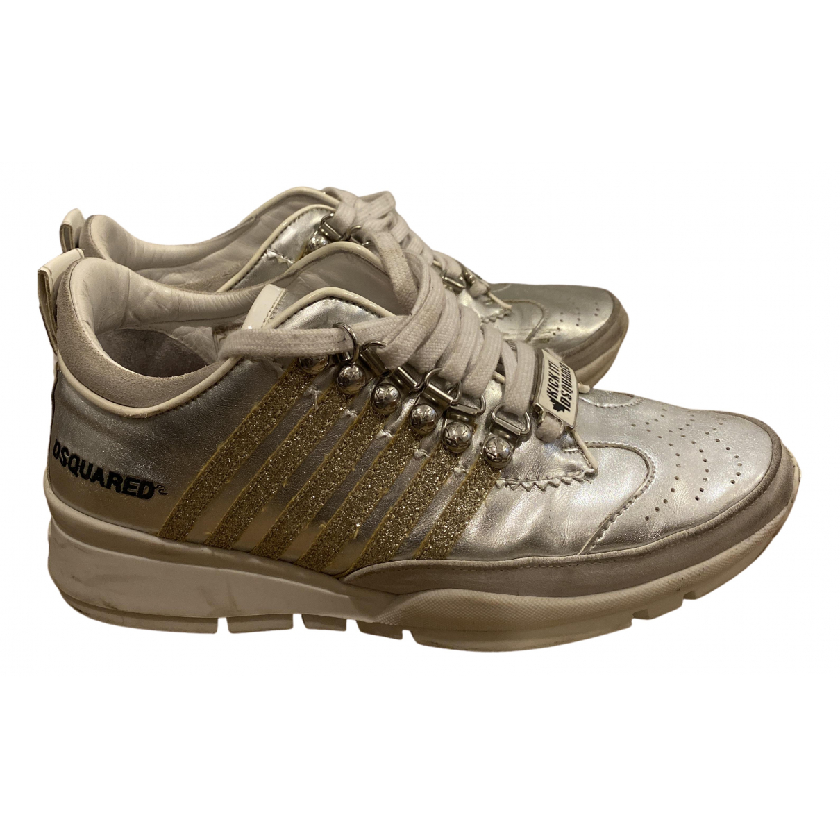 Dsquared2 N Silver Leather Trainers for Women 38 EU