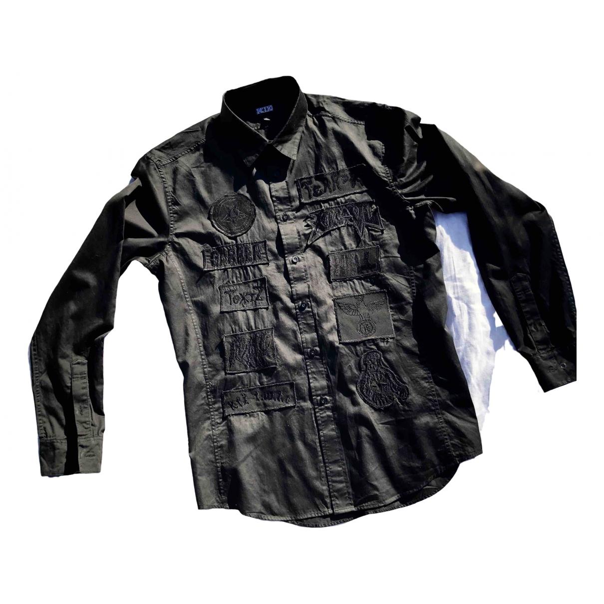 Ktz - Chemises   pour homme en coton - noir